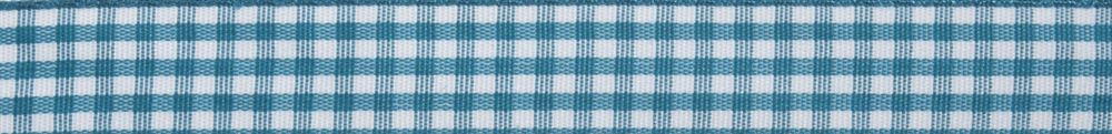 Gingham: 5m x 15mm: Teal