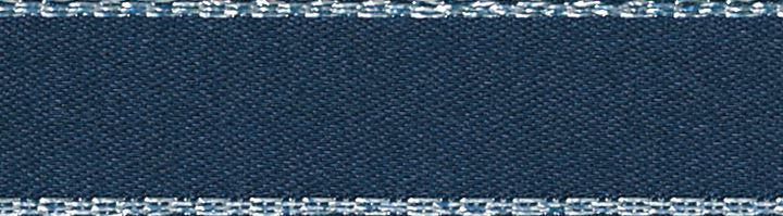 Metallic Edge Satin: Silver: 20m x 3mm: Navy