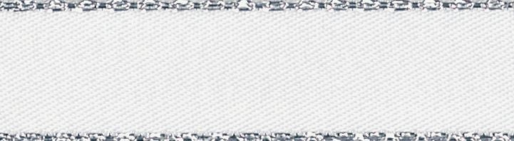 Metallic Edge Satin: Silver: 20m x 3mm: White
