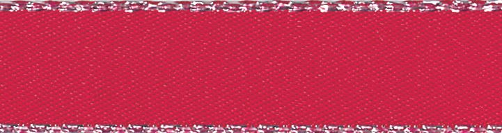 Metallic Edge Satin: Silver: 20m x 3mm: Red