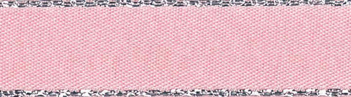 Metallic Edge Satin: Silver: 20m x 3mm: Pink Azalea