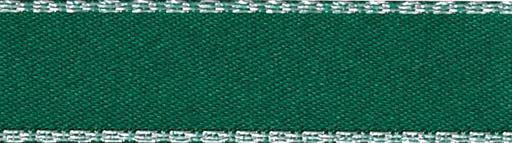 Metallic Edge Satin: Silver: 20m x 3mm: Hunter Green
