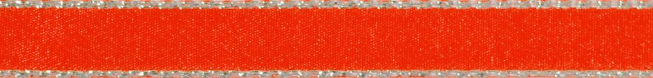 Metallic Edge Satin: Silver: 20m x 3mm: Fluorescent Orange