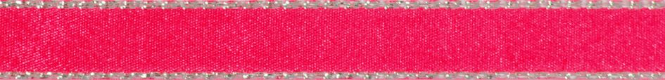 Metallic Edge Satin: Silver: 20m x 3mm: Fluorescent Pink