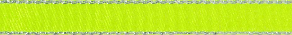 Metallic Edge Satin: Silver: 20m x 3mm: Fluorescent Yellow