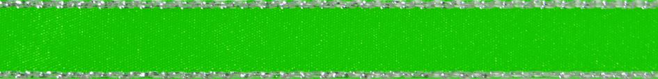 Metallic Edge Satin: Silver: 20m x 3mm: Fluorescent Green