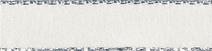 Metallic Edge Satin: Silver: 20m x 7mm: Bridal White