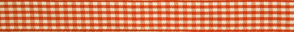 Gingham 2-Colour: 5m x 6mm: Orange with White