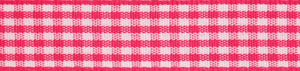 Gingham 2-Colour: 5m x 9mm: Hot Pink with White