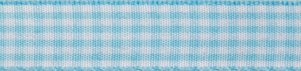 Gingham 2-Colour: 4m x 15mm: Light Blue with White