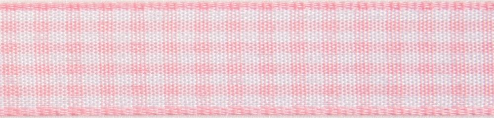 Gingham 2-Colour: 4m x 15mm: Light Pink with White