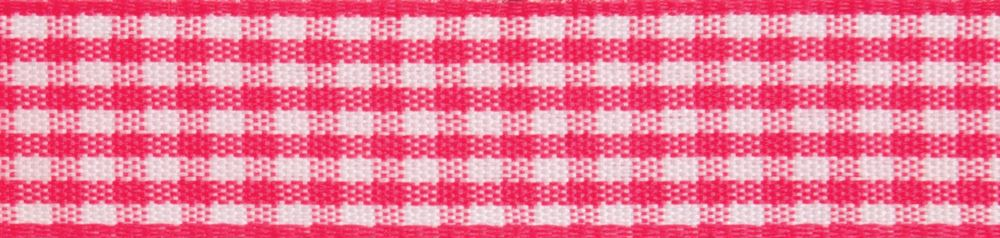 Gingham 2-Colour: 4m x 15mm:Hot Pink with White
