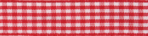 Gingham 2-Colour: 4m x 15mm: Red with White