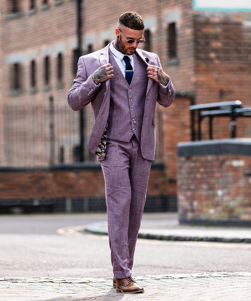 lilac three piece suit