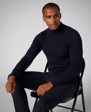 Merino Wool-Blend Crew Neck Sweater - Navy