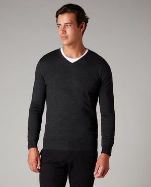 Merino V Neck Wool Blend Jumper