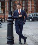 Navy Check Three piece suit