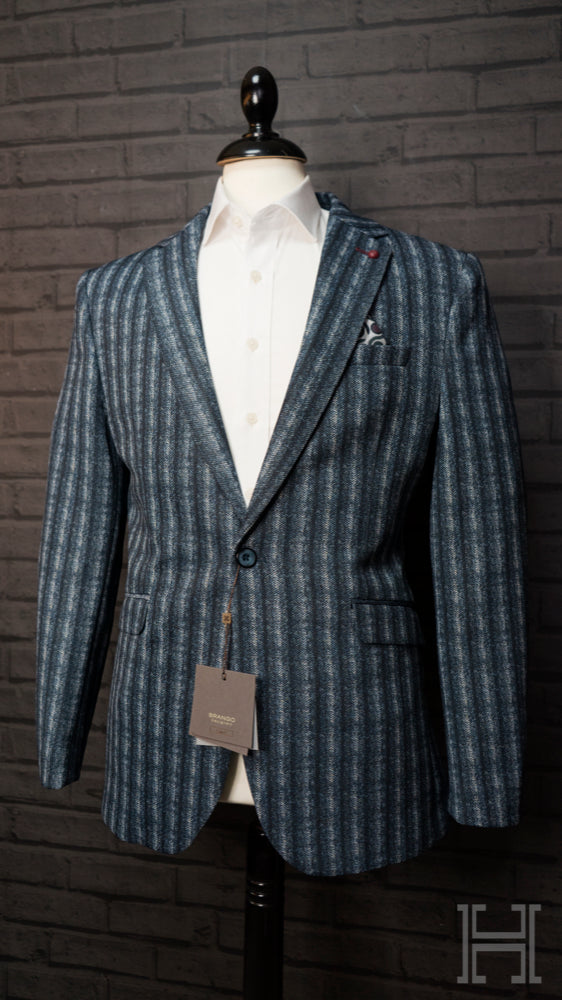 Herringbone 3 Tone Blue Striped Jacket