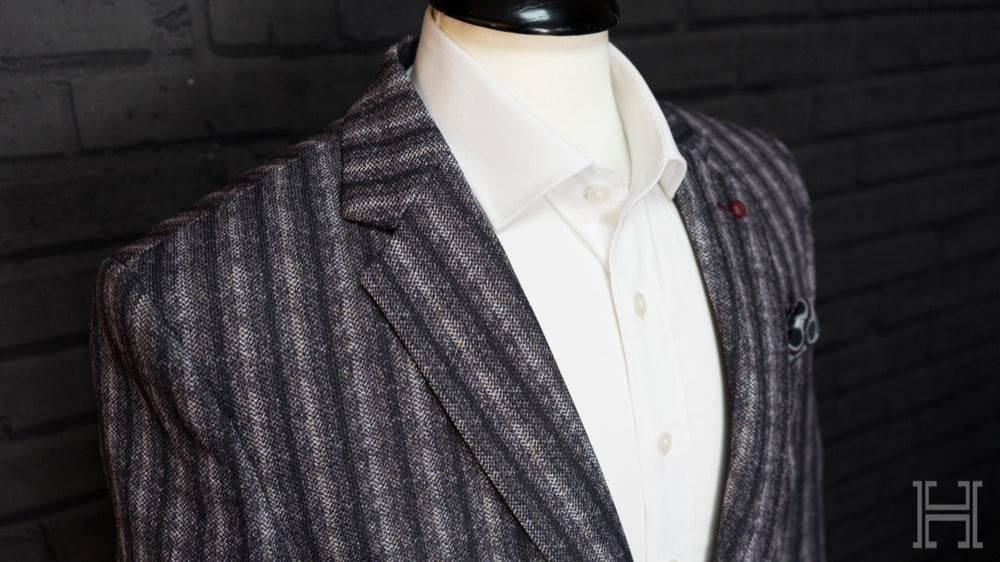 Herringbone 3 Tone Purple Striped Jacket