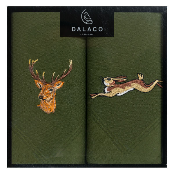 Stag & Hare Embroidered Green Cotton Handkerchief