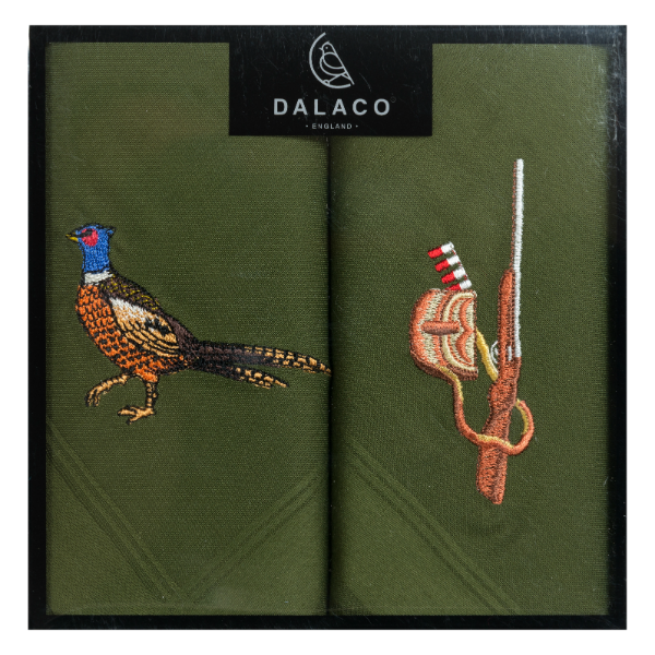 Pheasant & Gun Embroidered Green Cotton Handkerchief