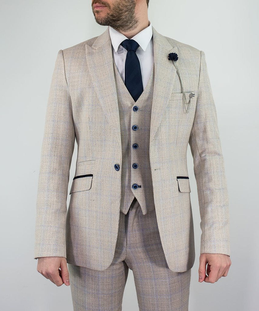 Beige Check Three Piece Suit