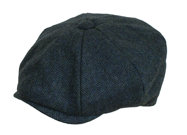 Blue Herringbone Peaky Blinder Hat