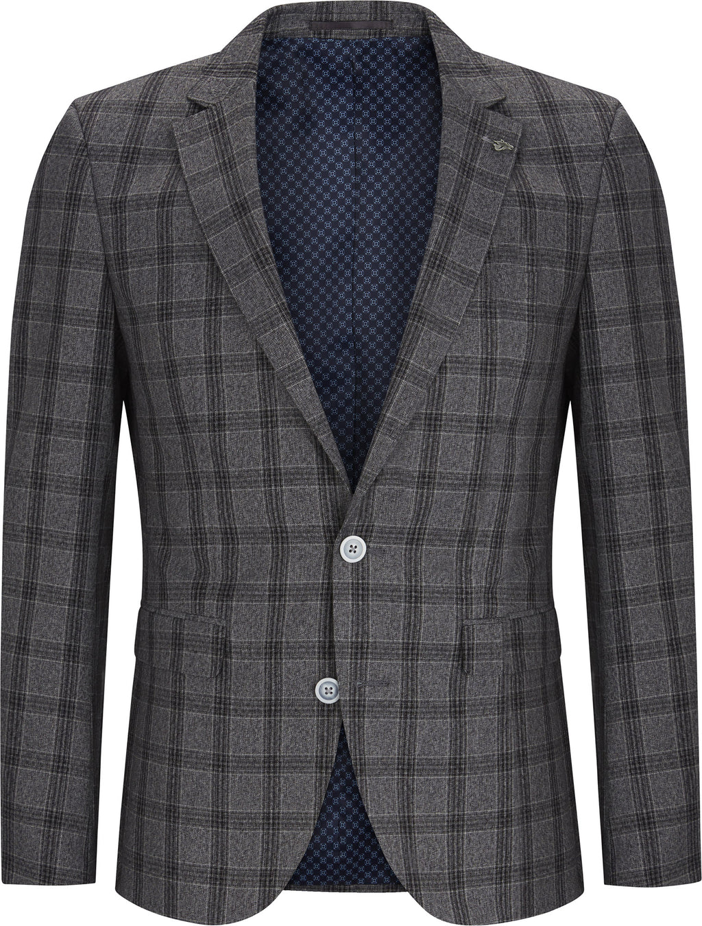 Grey Textured Check Jacket