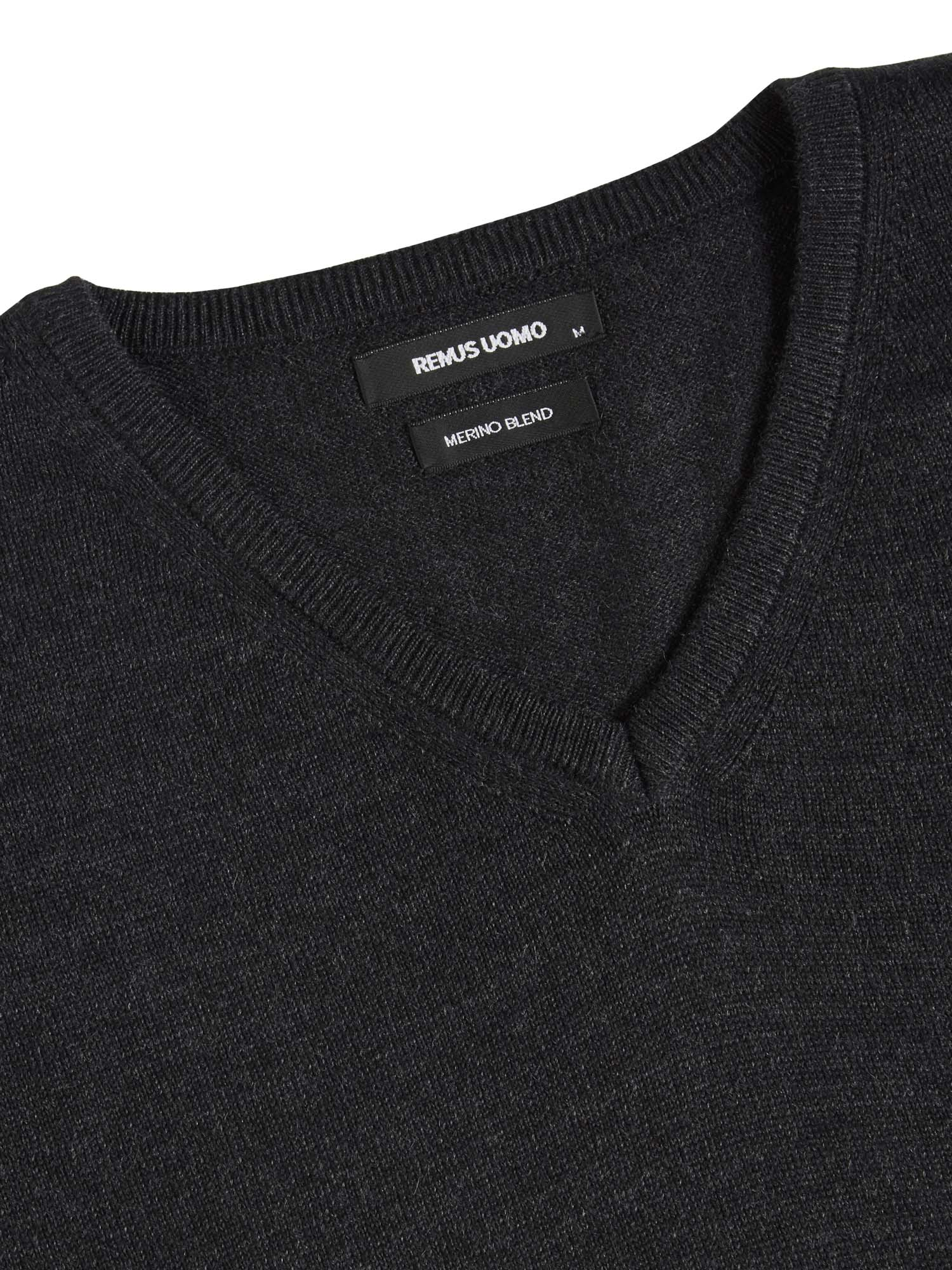 Merino Wool V Neck Charcoal Jumper