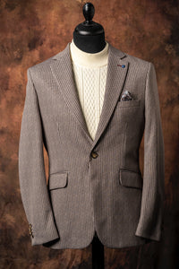 Brown and Cream Pinstripe Jacket