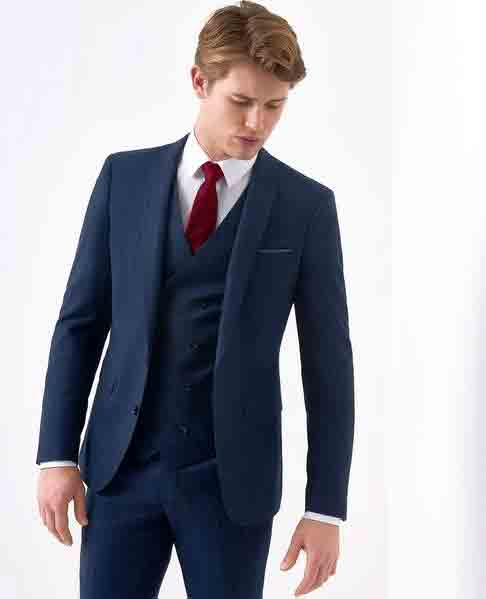 Pinstripe Navy Suit with a Double Breasted Waistcoat