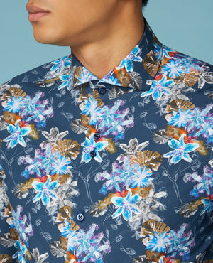 Remus Printed Compact Cotton Shirt