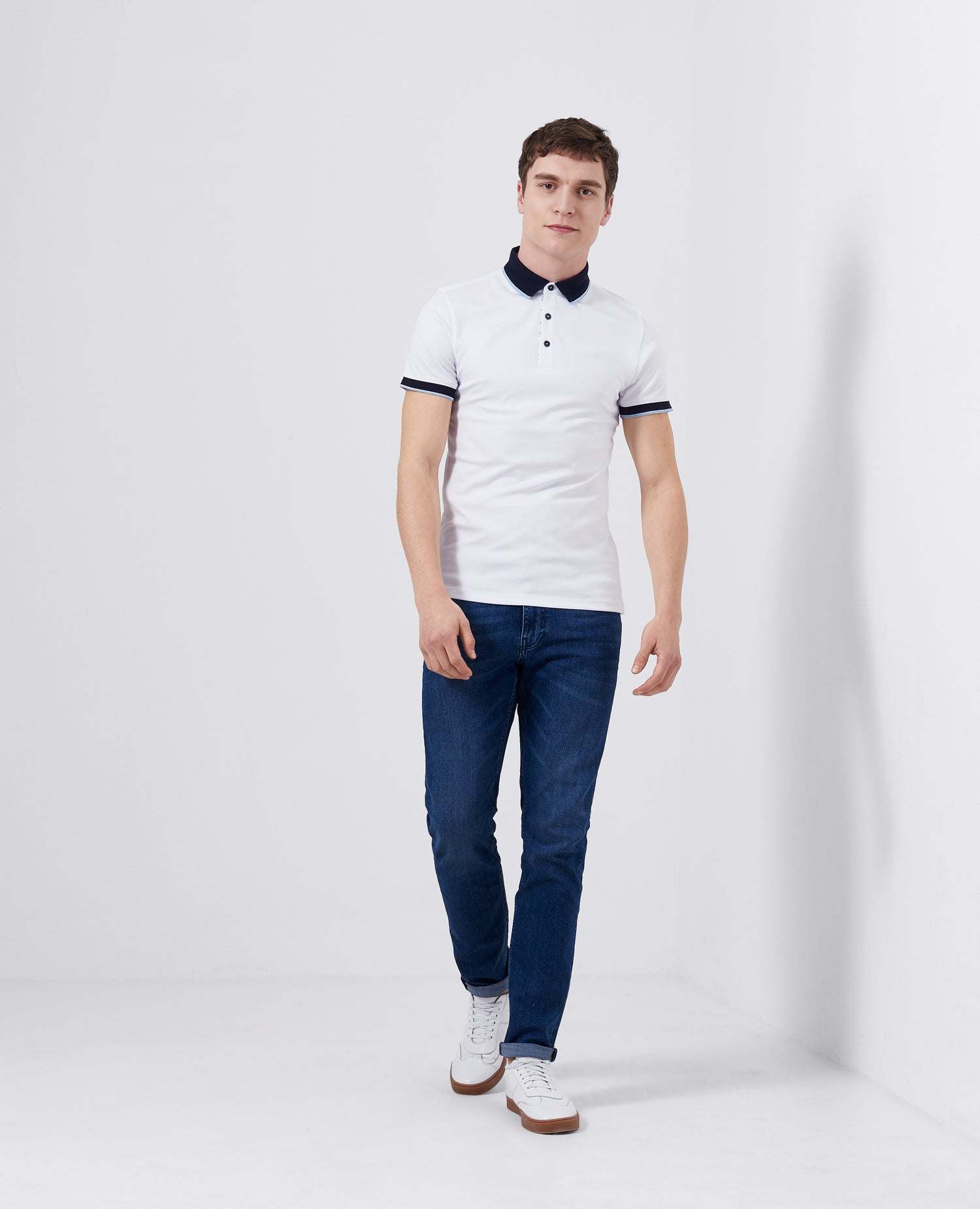 White and Navy Polo