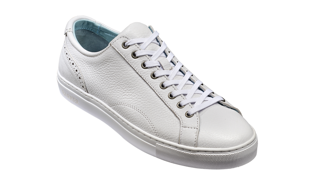 Barker White Grain Leather Trainer