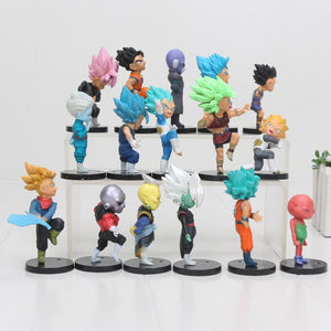 16pcs/set 7CM DB Super Saiyan 3 Vegeta goku rose trunks Zamasu Supreme Kai PVC Action Figure Toy Dragon Ball figure