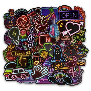 Neon Aesthetic Sticker Pack of 50