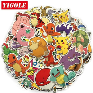 80pcs/lot Do Not Repeat PVC Sticker Pikachu Anime Laptop Stickers For Kids