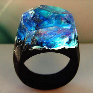 Amazing Handmade Creative Resin Wood Ring Transparent Magic Mysterious Microcosmic Forest Landscape Jewelry Dropshipping Ring