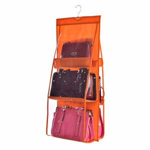 Transparent Pocket Double Sided Hanging Type Handbag Storage Bag