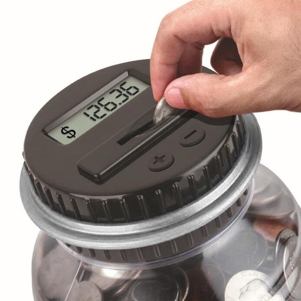 Transparent Digital LCD Cap Coin Counting Piggy Bank