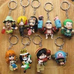 9 Pc One Piece Keychain/ Figure Set