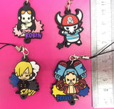 Rubber 4 Pc One Piece Keychain Set