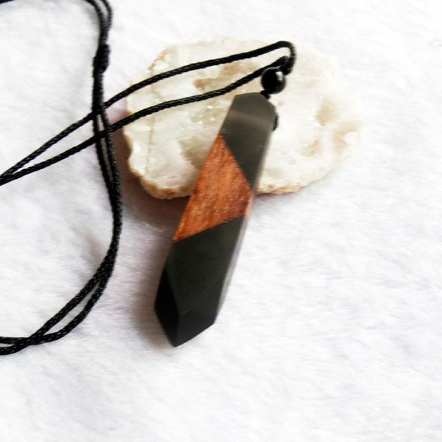 Wood Resin Necklace Women Men Handmade Vintage Resin Wood Statement Necklaces & Pendants Rope Wooden Necklace Male Jewelry Gifts