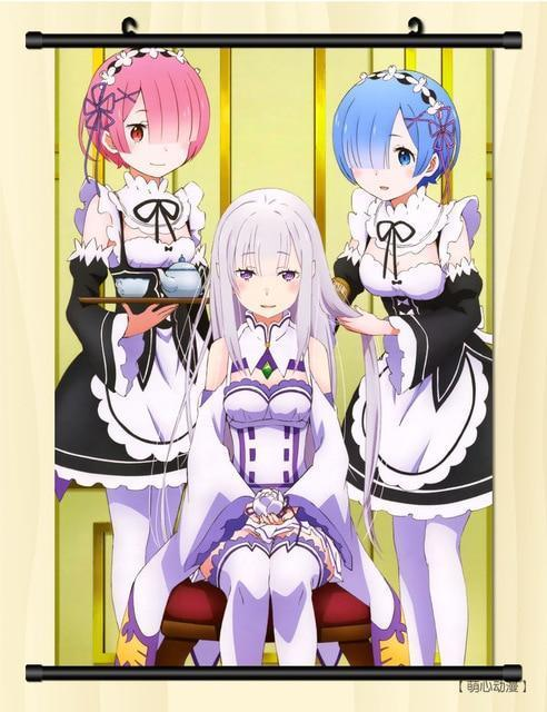 (40*60cm)NEW Re:Zero Life in a different world from zero Wall Scroll Painting Anime paintings Wall Stickers Rem & Ram