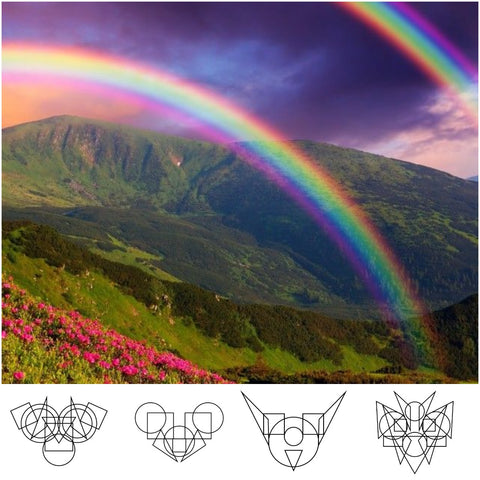 two rainbows over valley and mountains in the background and iq-me cartoon characters on the bottom