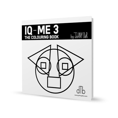 iq-me 3 colouring book by artist and designer Johny Dar - the characters are built from geometric shapes only