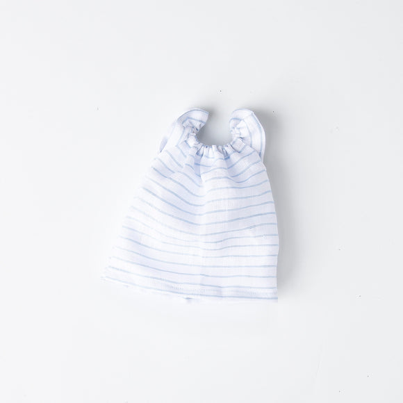 White Linen Stripe Gathered Dress