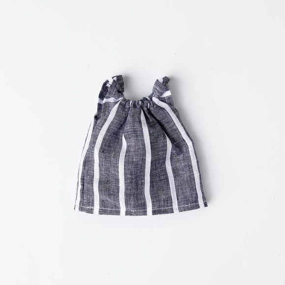 Blue Linen Stripe Gathered Dress