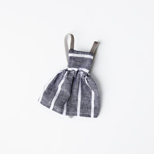 Blue Linen Stripe Pinafore Dress