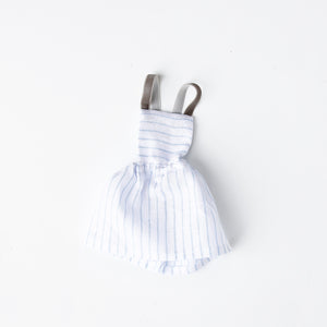White Linen Stripe Pinafore Dress